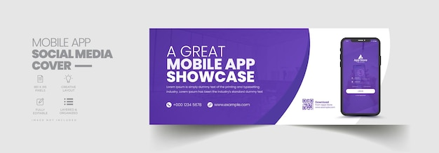 Mobile app promotion facebook timeline cover and web banner template