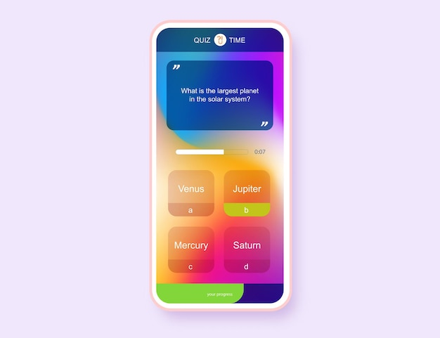 Mobile app question and answers modern gradient style for quiz game exam tv show school examination