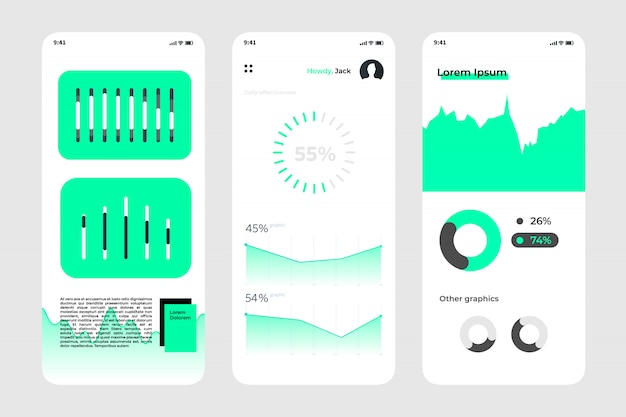Mobile app screen with statistic elements, charts, diagrams, graphics,
