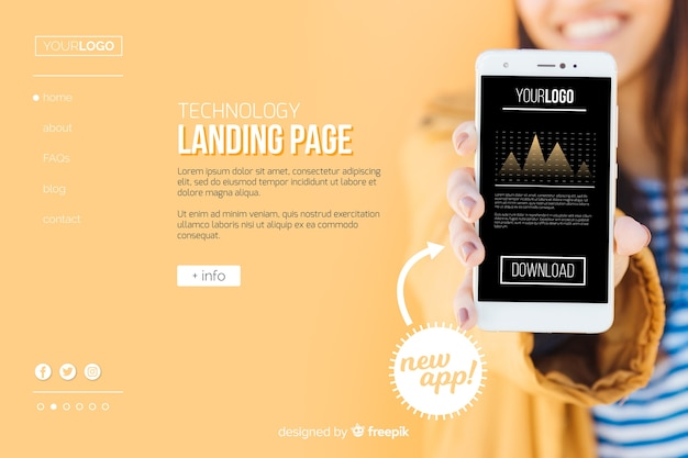 Mobile app technology landing page Free Vector