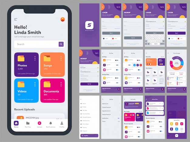 Mobile app ui kit with different gui layout including log in, create account, sign up, social media and notification screens. Premium Vector