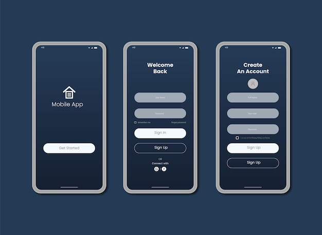 Mobile app ui log in and sign up page design