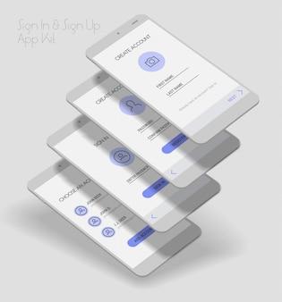 3d комплект экранов входа и регистрации пользовательского интерфейса мобильного приложения