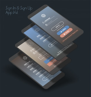 Mobile app ui sign in and sign up screens 3d  kit