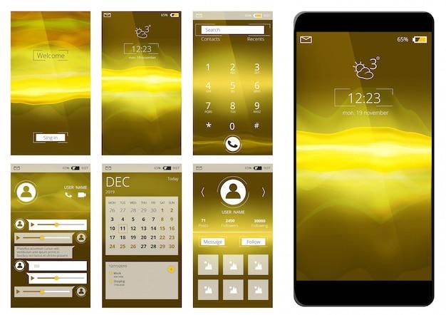 モバイルアプリのui。分離されたスマートフォンインターネットアプリケーション図のwebインターフェイステンプレート