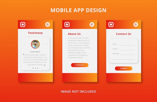 Mobile app user interface design with orange gradient