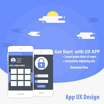 モバイルapp uxデザインベクターテンプレートのコンセプト