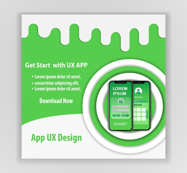 Mobile app ux design vector template concept
