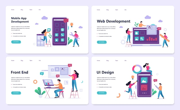Mobile app and web development banner concept set