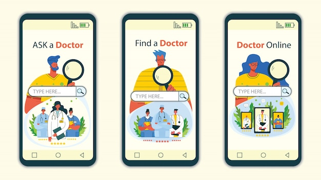 Mobile app and website concept design for medical help resources. online doctor instant help approach. healthcare business solution.