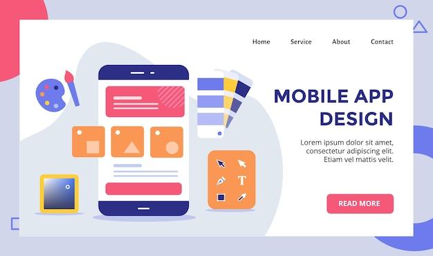 Каркас мобильного приложения на смартфоне, кампания для шаблона целевой страницы домашней страницы веб-сайта с современными