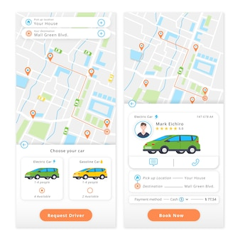 Mobile app with taxi ordering app