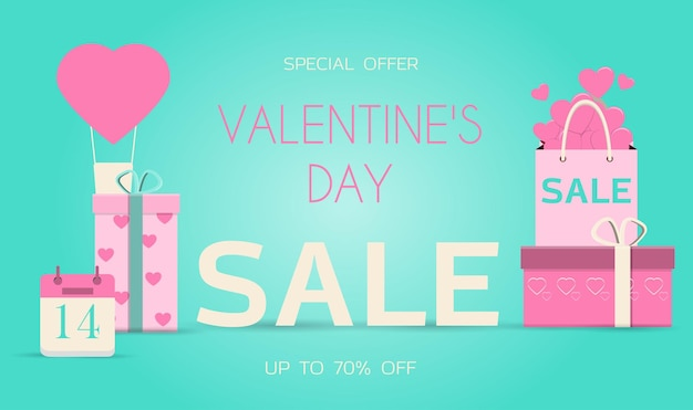 A mobile app with a valentines day sale flat vector illustration online store delivery of goods for