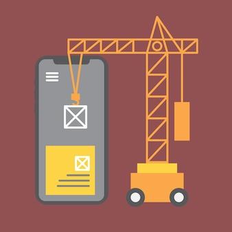 Mobile application. crane lifting building blocks. for web site