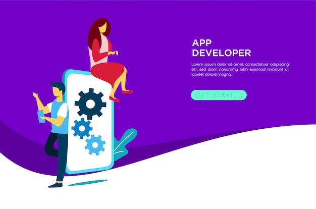 Mobile application developer illustration