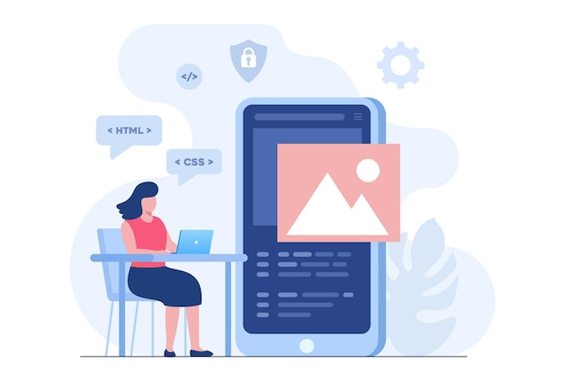 Mobile application developer. programming languages. css, html, it, ui. female programmer cartoon character developing website, coding. flat illustration banner
