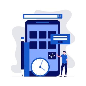 文字のモバイルアプリケーション開発コンセプト。プログラムコーディング。