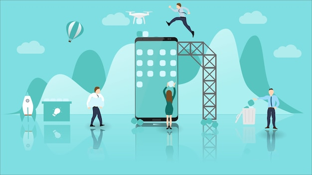 Mobile application development concept.