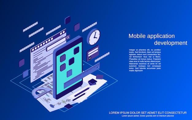 Разработка мобильных приложений плоская 3d изометрическая векторная иллюстрация концепции
