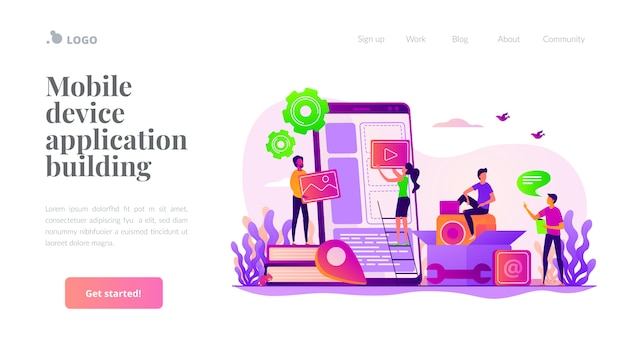 Mobile application development landing page template