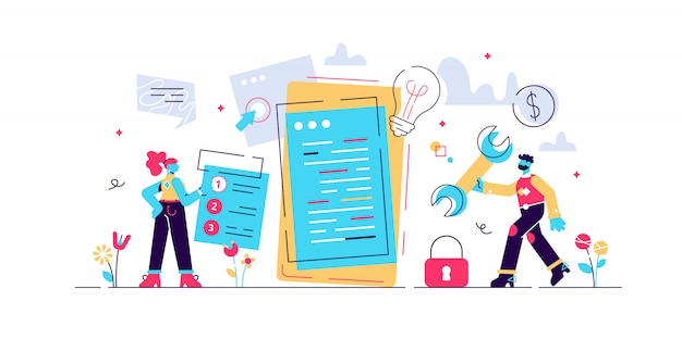 Mobile application development process flat illustration. software api prototyping and testing background. smartphone interface building process, mobile app build