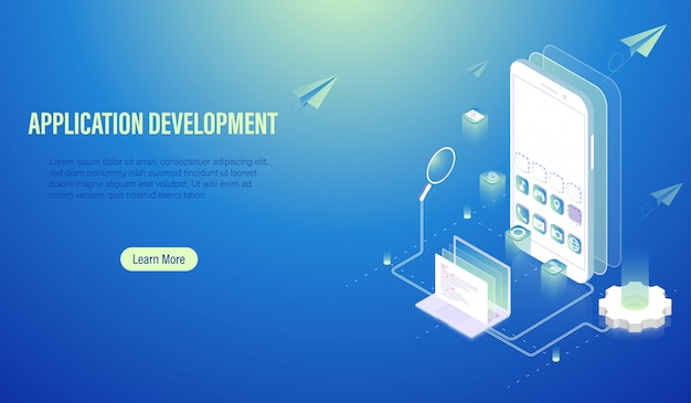 Mobile application development and program coding concept