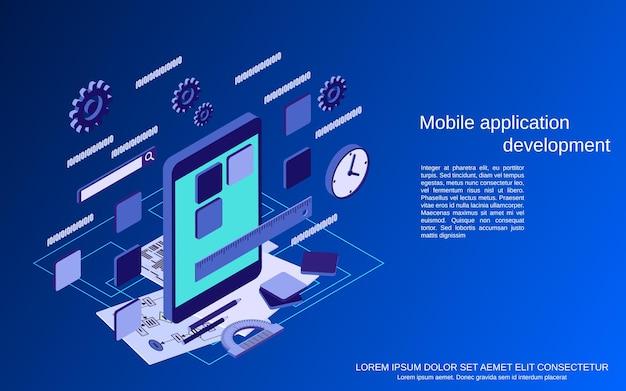 モバイルアプリケーション開発、プログラムコーディングフラット3dアイソメトリックベクトルの概念図