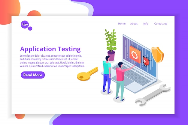 Mobile application development, testing and prototyping process isometric . app interface building.