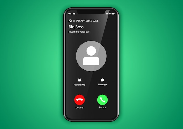 Mobile application incoming call screen