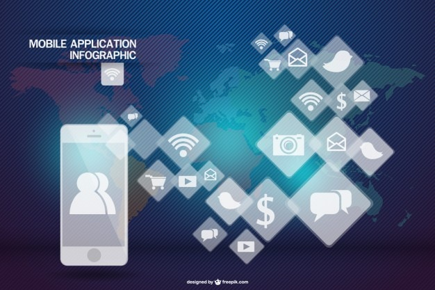 Mobile application infographic rhombus apps