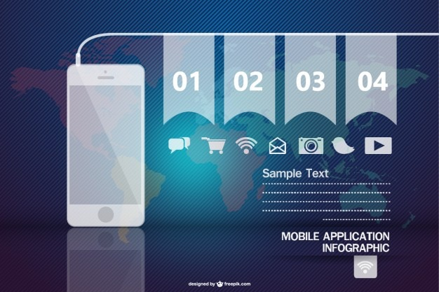 Mobile application infographic with different icons