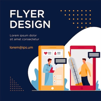 Mobile application for medical consultation. smartphone, thermometer, physician flat flyer template