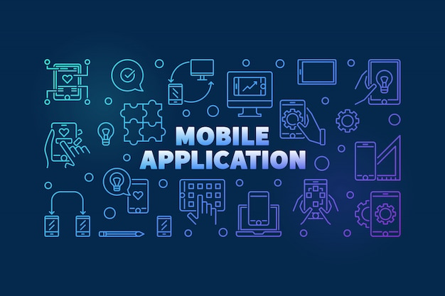 Mobile application outline colored horizontal banner
