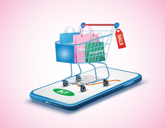Mobile application, shopping online on website, concept