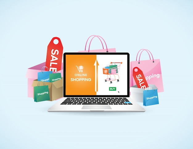 Mobile application, shopping online on website, vector concept