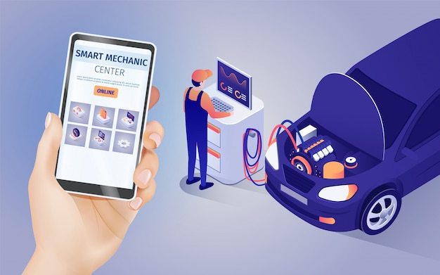 Mobile application of smart mechanic center online