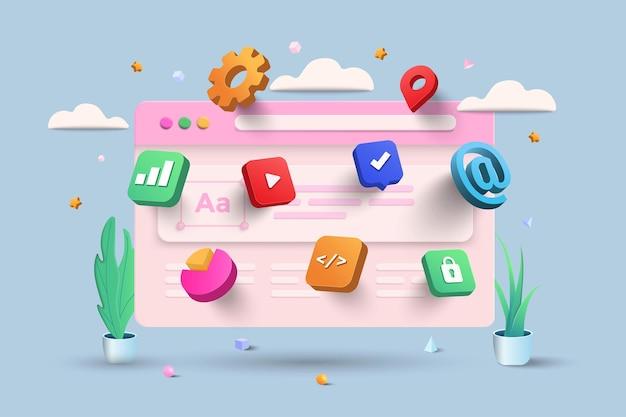 Мобильное приложение, программное обеспечение и веб-разработка с 3d-фигурами, гистограммой, инфографикой на синем фоне. 3d векторные иллюстрации