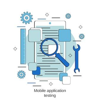フラットなデザインスタイルのベクトルの概念をテストするモバイルアプリケーション