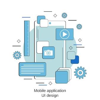 Дизайн пользовательского интерфейса мобильного приложения в плоском стиле векторной концепции