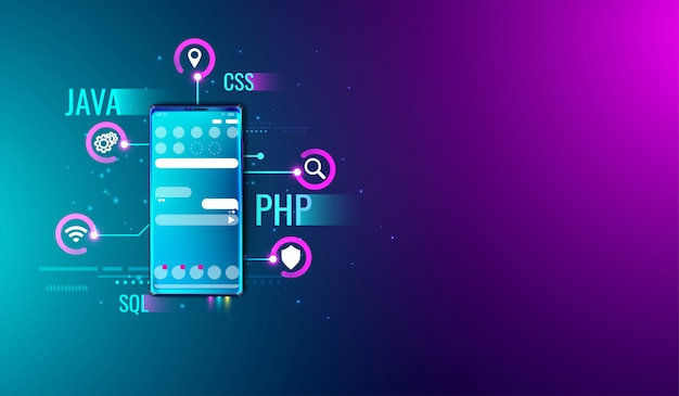 Mobile application ui ux design and development concept