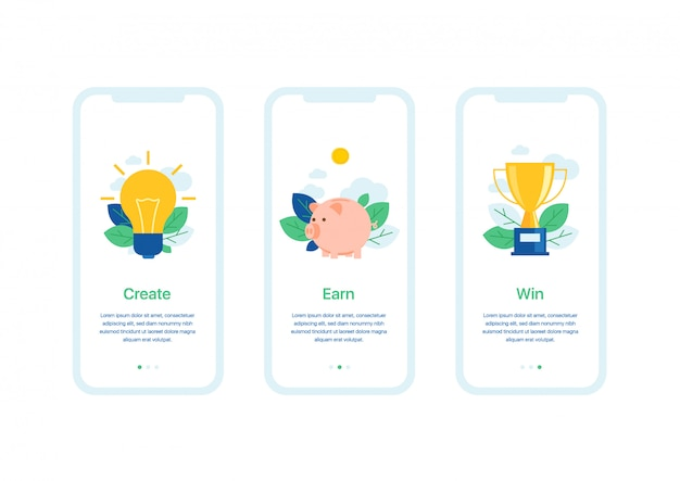 Mobile application user interface business template of welcome screens