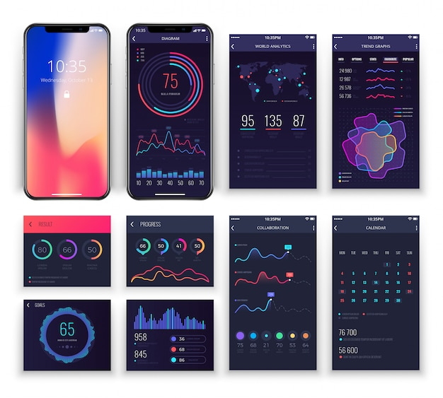 Mobile application ux interfaces templates with charts and diagrams.