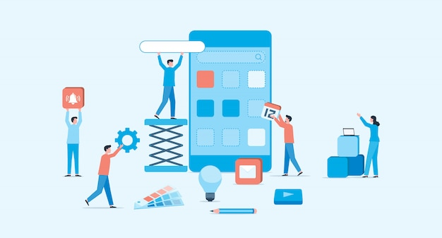 Mobile application and web design development process concept
