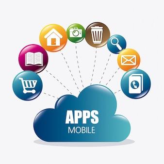 모바일 응용 프로그램 및 기술 아이콘 디자인.