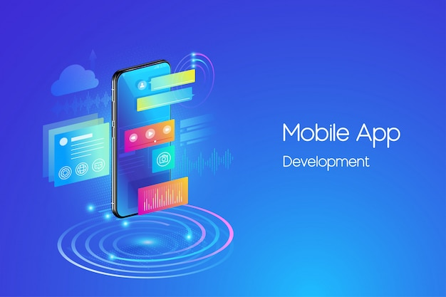 Mobile applications development illustration