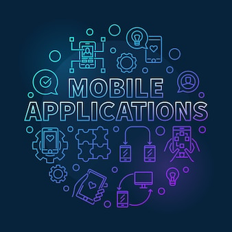 Mobile applications round colored concept