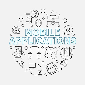 Mobile applications round outline icon illustration