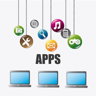 Mobile applications and technology icons design.
