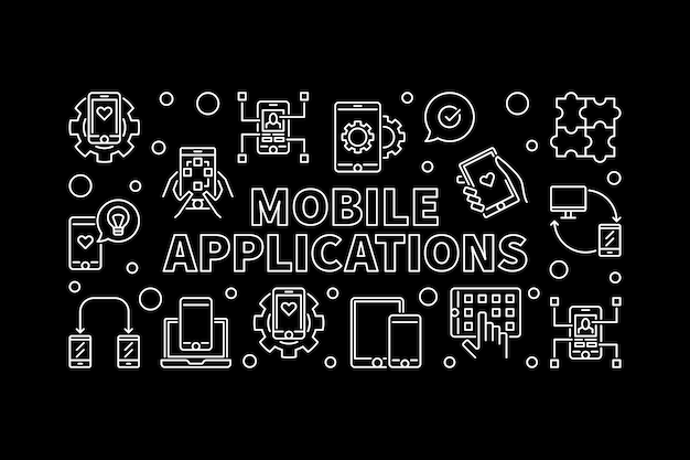 Mobile applications vector outline horizontal illustration