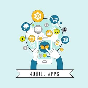 Концепция мобильных приложений: приложения, вылетающие из мобильного в линейном стиле
